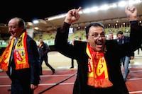 Le milliardaire Hafiz Mammadov aux côtés de Gervais Martel lors du match AS Monaco - RC Lens.<br />PHOTO JOHAN BEN AZZOUZ / LA VOIX DU NORD