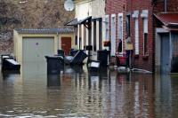 Grosses inondations à Fourmies, Hirson et Anor, suite à la fonte de l'épaisse couche de neige.<br />PHOTO JOHAN BEN AZZOUZ / LA VOIX DU NORD