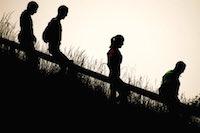 Le trail des pyramides noires, autour des terrils du bassin minier.<br />PHOTO JOHAN BEN AZZOUZ / LA VOIX DU NORD
